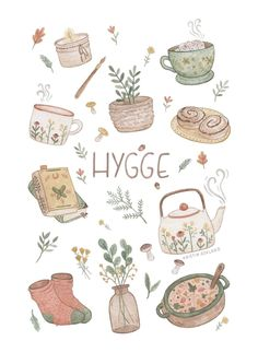 A collection of things that gives hygge. A collection of things that gives hygge. Art And Illustration, Illustration Mignonne, Magazine Illustration, Journal Stickers, Planner Stickers, Art Mignon, Posca Art, Cute Stickers, Free Printable Stickers
