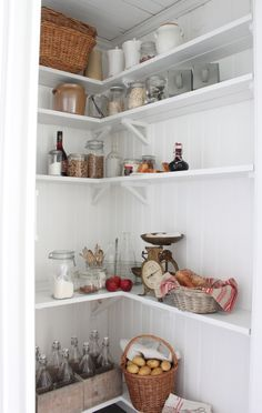 Pantry with beadboard, open shelves - All white. I can't find those brackets, so sides on shelves might be easier to build and hang. Kitchen Decor, Decor, House Interior, Open Shelving, Kitchen Interior, Vintage Kitchen, Home, Kitchen Dining Room, Home Decor