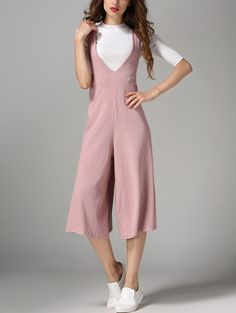 Double V Neck Wide Leg Jumpsuits