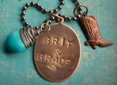 COWGIRL ATTITUDE Grit & Grace Bronze Dog Tag with Wire Wrapped ...