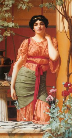 ⊰ Posing with Posies ⊱ paintings of women and flowers - Godward-Nerissa