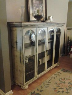 Use the top and bottom separately.Top to a china cabinet that we repurposed. Added wood planked top, bun feet. bottom cabinet as buffet.