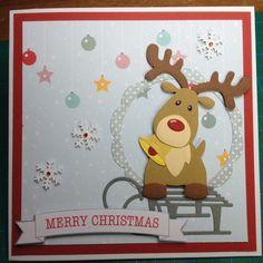 Kort jul Rudolf på kælk