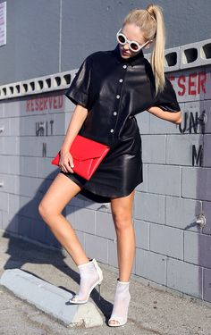 Dress: Acne StudiosShoes: Brian AtwoodClutch: GivenchyEar cuff: George Laurel Sunnies: Wildfox (image: peaceloveshea)