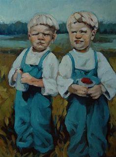 """Berry Boys"" - Original Fine Art for Sale - © Kayleen Horsma"