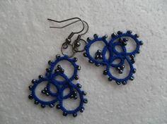 Boucles d'oreille bleu et gris en dentelle de frivolite , Boucles d'oreille dentelle bleu, Boucles d'oreille faite main