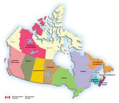 carte du canada avec des hyperliens vers les provinces et territoires ayant des relevs de la