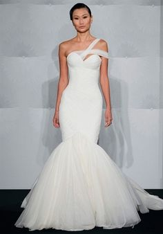 22 One Shoulder Wedding Dresses and Gowns | Confetti Daydreams - Asymmetrical one shoulder mermaid tulle bridal gown with double one shoulder strap ♥ ♥ ♥ LIKE US ON FB: www.facebook.com/confettidaydreams ♥ ♥ ♥ #Vintage #Wedding #Dresses #Gowns