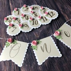 Cute floral party decor for that first big milestone! Baby Crafts, Diy Party, Place Card Holders, Birthday, Floral, Group, Big, Board, Instagram