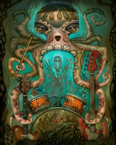 Tend My Garden, A Musical Octopus Themed Painting by Tim Lee