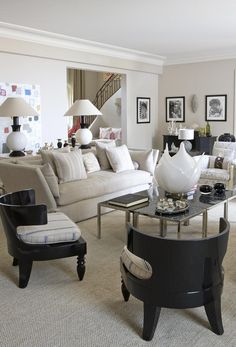 Contemporary Living Room by Kelly Hoppen in France. @kellyhoppen Interior Decoration in France. Contemporary design, living room decor ideas, luxury furniture, unique furniture. For more design news: http://www.bocadolobo.com/en/news-and-events