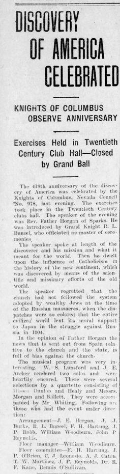 Reno Gazette-Journal, 13 Oct 1910, Thu, Main Edition  Robert Buncel on arrangement committee for Discovery of America Celebration