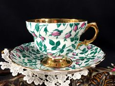 Rosina Chintz Teacup and Saucer, Rare Gold Banded Floral Tea Cup Made in England