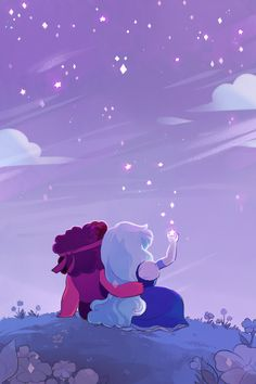 sometimes it's nice being split up. lots of people requested ruby/sapphire! Art by http://sergle.tumblr.com/