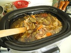 whole chicken in a crock pot ... and then using the remaining bones to cook broth in the crock pot