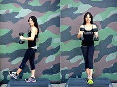 """<p><a href=""""http://www.cosmopolitan.com/advice/health/how-to-get-sexy-toned-legs?click=main_sr"""" target=""""_blank"""">Lift your right leg</a> a foot off the ground. Hold a weight in each hand, arms bent at a 90-degree angle, palms facing each other. Extend the weights down to the sides of your hips, then lift back up. Do 15 reps; switch sides. Complete three full sets on each side.</p>"""