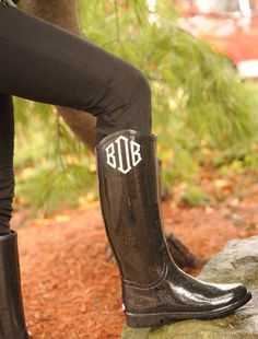We could add a vinyl monogram to your wellies! Monogram Boots, Vinyl Monogram, Shoe Closet, Hunter Boots, Just In Case, Rubber Rain Boots, Preppy, Riding Boots, My Style