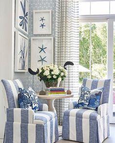 What beautiful coastal beach home decor! Love the blue and white