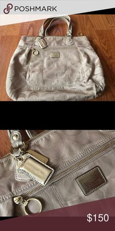 Coach Poppy Purse Gold Coach Poppy purse! In great shape! Beautiful but still fun with the pop of gold in the Coach C! Paid $350 asking $150, make an offer!! Coach Bags Totes