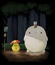 Molang adaptation of Totoro so cute Images Kawaii, Cute Images, Cute Pictures, Kawaii Doodles, Kawaii Art, Kawaii Anime, Totoro, Kawaii Drawings, Cute Drawings