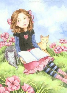 reading with cat friends