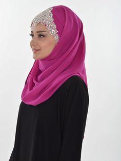 Ready to wear hijab, Cross Practical Shawl Chiffon, Turban, Hijab, Tesettur, Shawl, CPS-0036 Fuschia by MelikesDesign on Etsy