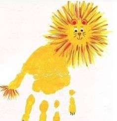 Creative Craft Ideas on Hand and Food print for Kids - DIY Tutorials - Handprint art - Daycare Crafts, Baby Crafts, Toddler Crafts, Crafts For Kids, Kids Diy, L Is For Lion, Lion Craft, Lion And Lamb, Footprint Crafts