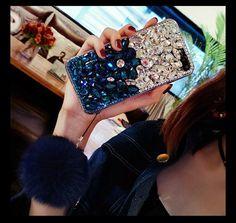 Diamond Gradient Color Plush Ball Phone Case – Dealggo.com Cute Phone Cases, Iphone Cases, Ball Decorations, Beautiful Cover, Mobile Covers, Gradient Color, Color Show, Bling, Ideas Para