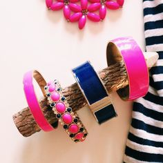 3x HOST PICK  J crew bangles Adorable and bright Navy and hot pink bangles from j crew. One is hot pink thin, the other is hot pink thick. Third is navy also thick and opens (silver interior)The other three slide on. Also pink and navy design bracelet. Look perfect together. Will sell together or separately.   $15 - thin pink $15 - navy $18 - thick pink $40 - pink & navy  •Fast shipper •Discounts on bundles J. Crew Jewelry Bracelets