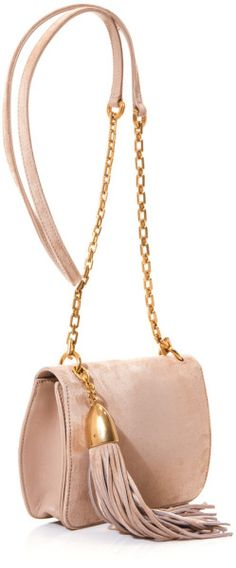 ~Nina Ricci Beige Suede Cross Body Tassel Bag | The House of Beccaria#