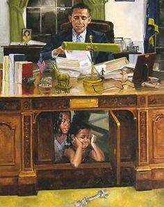 Painting of president Obama and daughters