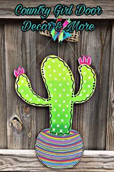 Excited to share this item from my shop: Cactus Door Hanger, Serape print door hanger, ombre door hanger, ombre cactus door decor Painted Doors, Painted Signs, Hand Painted, Diy Christmas Yard Art, Wood Yard Art, Wooden Wall Decor, Wooden Signs, Burlap Flag, Burlap Door Hangers