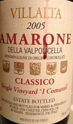 Villalta Amarone della Valpolicella 2005 from M I'm finding this a bit too full-on (even with a heavy Spag Bol)