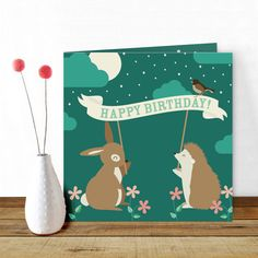 A cute #birthdaycard for an evening #party with a #bunny and a #hedgehog