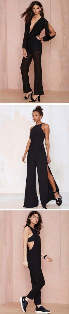 Stay sleek in a black jumpsuit. #NastyGal