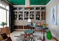 Interior designer Jennifer Reynolds took a walk on the wild side by covering a stool in Beacon Hill's Cheetah Velvet in Emerald > http://www.robertallendesign.com/cheetah-velvet-emerald-218824