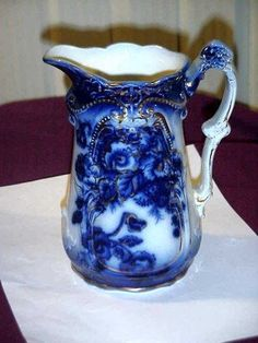 """flow blue   and Used FABULOUS FLOW BLUE MILK PITCHER 7"""" HIGH BEAUTIFUL BLUE FLOW ..."""