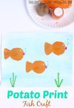 Potato Print Fish Craft for Kids. Fun DIY print art for summer.