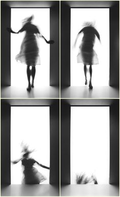 Laurence Demaison - Saute d'humeur, 2004 Narrative Photography, Art Photography, Sequence Photography, Photo Portrait, Experimental Photography, Motion Blur, White Aesthetic, Art Plastique, Black And White Photography