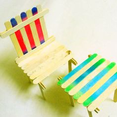 How to make a popsicle sticks table and chair set via @Guidecentral - Visit…