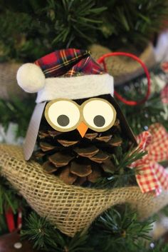 Christmas pine cone owl ornaments. 10 best  Christmas owl ornaments. see more at loveitsomuch.com