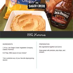 BBQ Hummus, made with all new Sager Creek Vegetable Company Hummus. #recipe