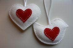 Christmas Felt Heart & Bird Ornament - set of 2. $14.00, via Etsy.
