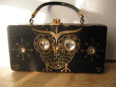 Vintage box purse OWL Rhinestones on black