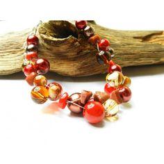 Bransoletka z mrożonym szkłem, koralami i kamieniami