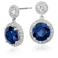 Blue Nile Sapphire and Diamond Drop Halo Earrings ($19,800) ❤ liked on Polyvore featuring jewelry, earrings, diamond jewelry, 18 karat gold jewelry, long earrings, sapphire dangle earrings and diamond jewellery