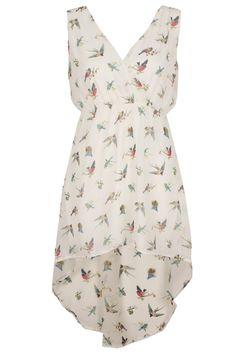 Cream Bird Print Chiffon Tail Hem Dress