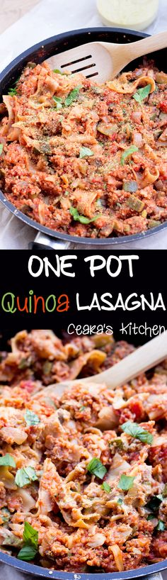 One pot quinoa lasagna with cheese sauce - vegan