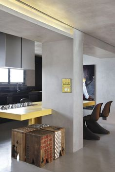 Apartment especially designed for a DJ: FJ House in Brazil.  Love the 4 stools!