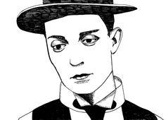 buster keaton, silent film, 1920s, illustration